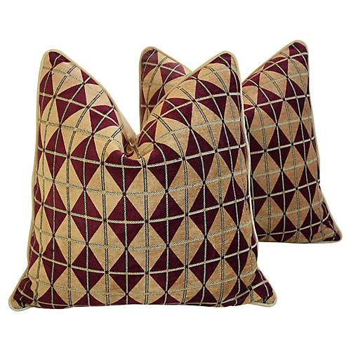 Diamond Chenille/Velvet Pillows, Pr
