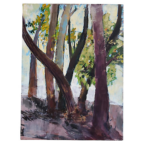 Abstract Wooded Forest Oil Painting