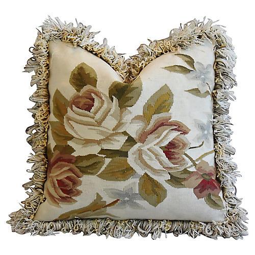Floral Aubusson Wool & Velvet Pillow