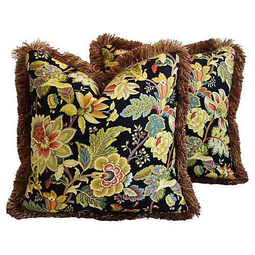 Schumacher English Floral Pillows, Pair