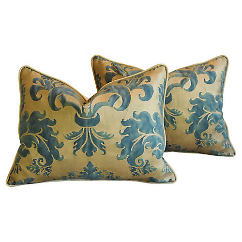 Italian Fortuny Glicine Pillows, Pair
