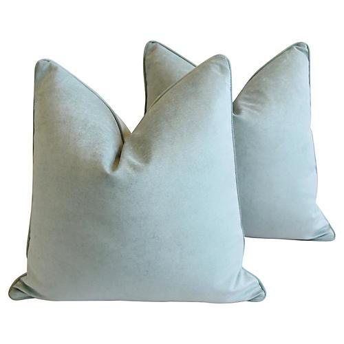 Ocean Sea Mist Velvet Pillows, Pair