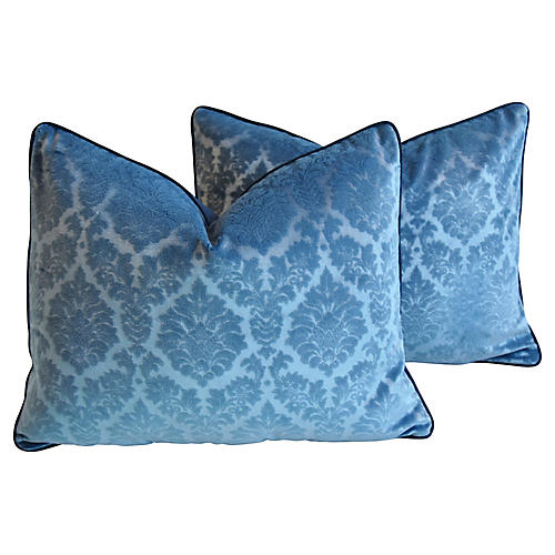 French Blue Linen Velvet Pillows, Pair