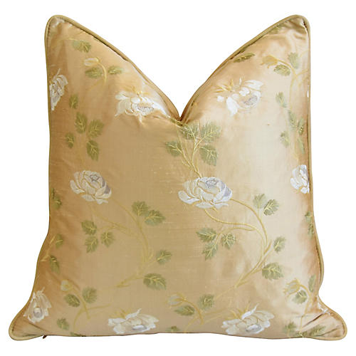 Embroidered White Rose Silk Pillow