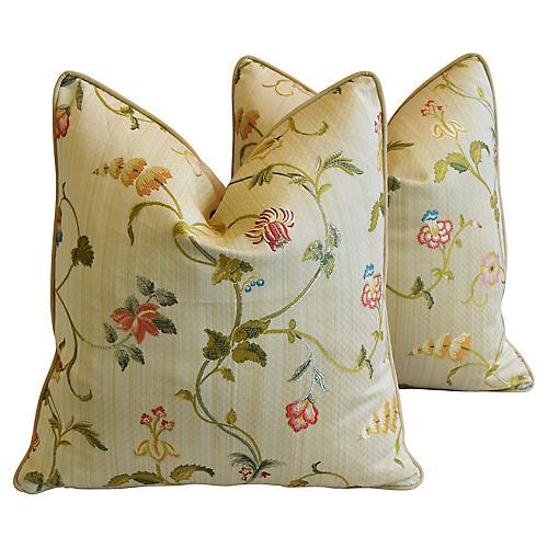 Scalamandré Trailing Floral Pillows, Pr