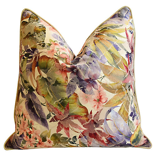 Tropical Floral Cotton/Silk Pillow
