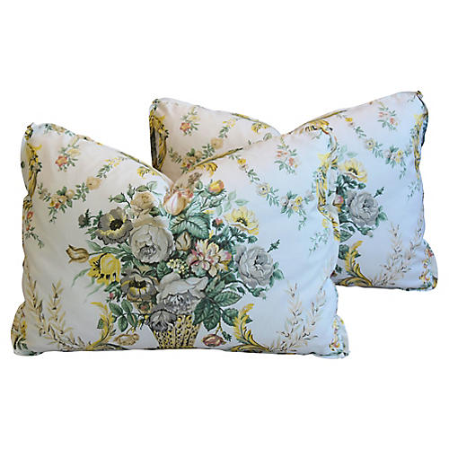 Schumacher Floral Bouquet Pillows, Pair