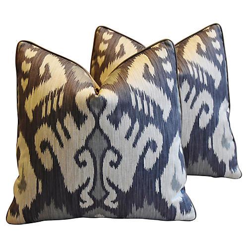 French Ikat & Scalamandré Pillows, Pr