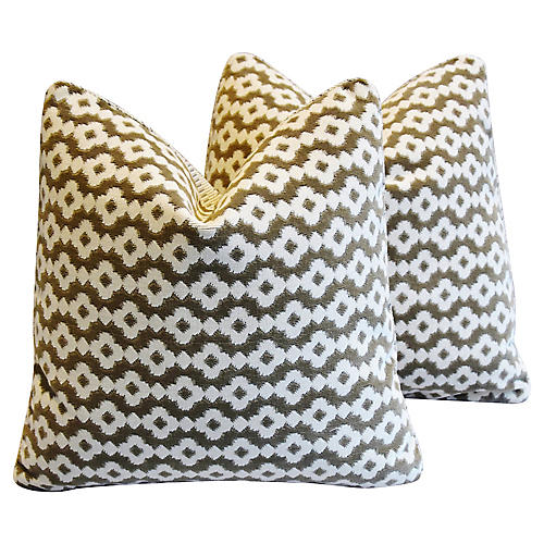 Manuel Canovas Velvet Pillows, Pair