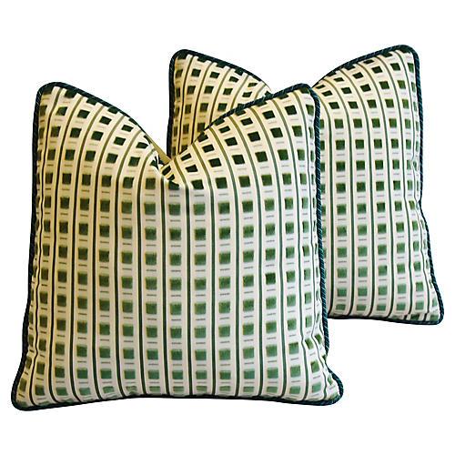 Scalamandré Velvet & Mohair Pillows, Pr