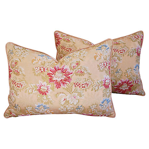 Scalamandré Floral Silk Pillows, Pair