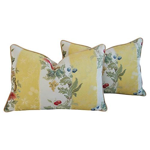 Scalamandré Silk Lampas Pillows, Pair