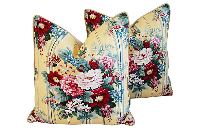 Floral Bouquet & Velvet Pillows, Pair
