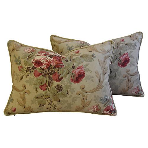 English Cottage Rose/Velvet Pillows, Pr