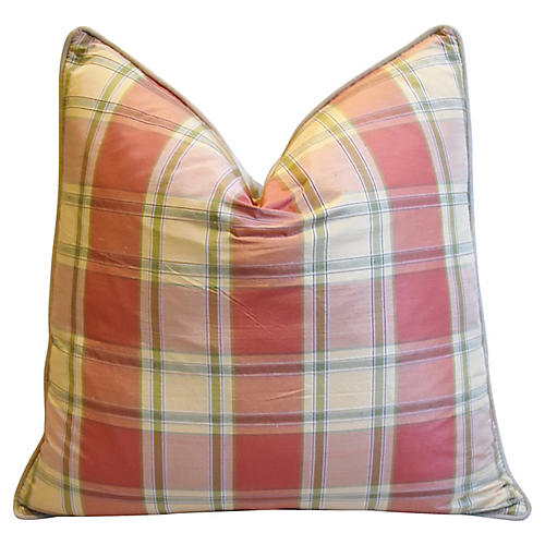 Brunschwig Fils Plaid Silk/Velvet Pillow
