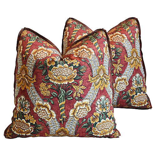 Schumacher Woodford Floral Pillows,