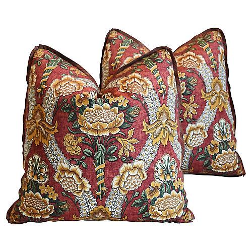 Schumacher Woodford Floral Pillows,