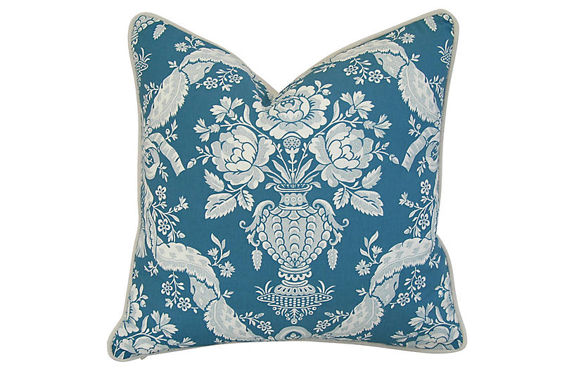French Marius Boudin Blue & White Pillow