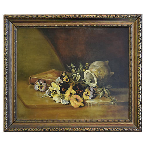 Antique English Floral Oil Painting