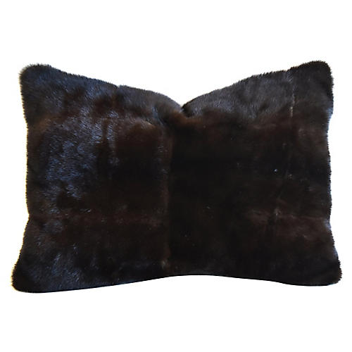 Dark Brown Real Mink Fur & Velvet Pillow