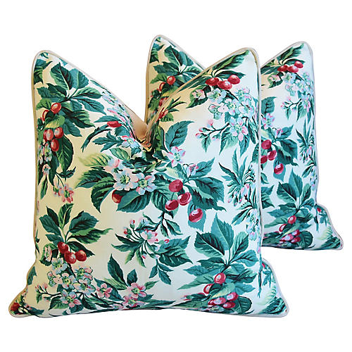 Schumacher Cherry Blossom Pillows, Pair