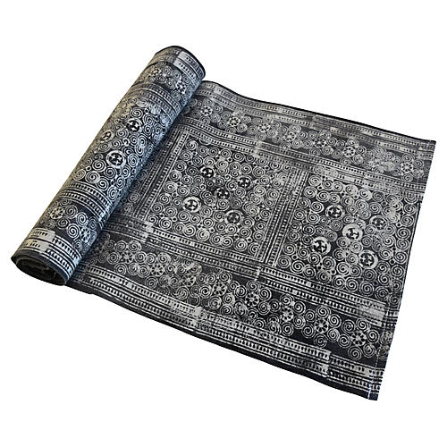 Faded Gray & White Batik Table Runner