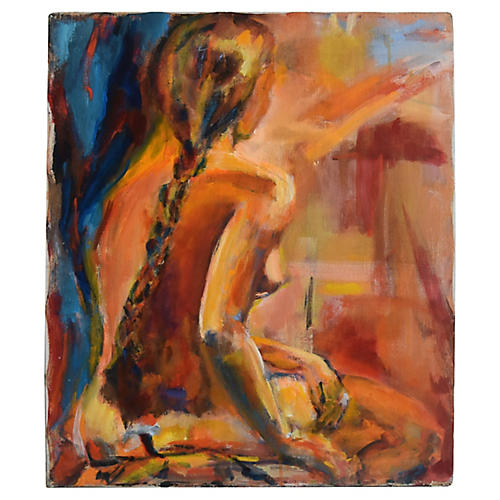 Midcentury Abstract Sitting Female Nude