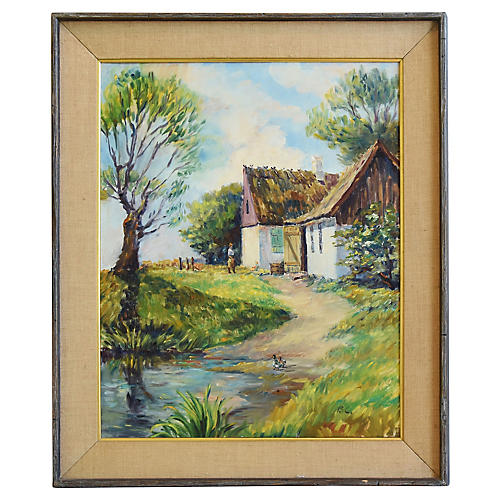 English Thatched Cottage & Pond Painting
