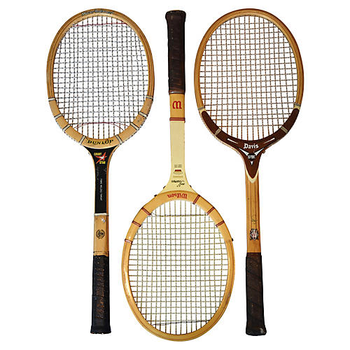Tennis Rackets w/ Leather Handles, S/3