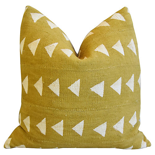 Handwoven Gold & Cream Tribal Pillow