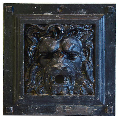 19th-C. French Iron Lion Relief Plaque