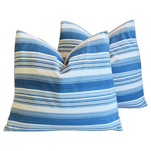 Blue & White Nautical Stripe Pillows, Pr