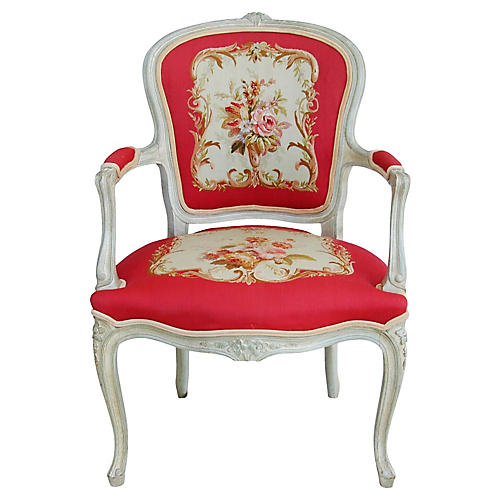 French Louis XV Style Needlepoint Chair