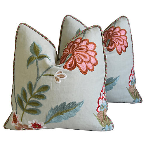 Embroidery Floral & Silk Pillows, Pair