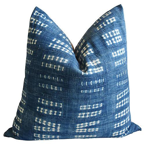 "Jumbo 32"" Blue/White Mali Pillow Cushion"