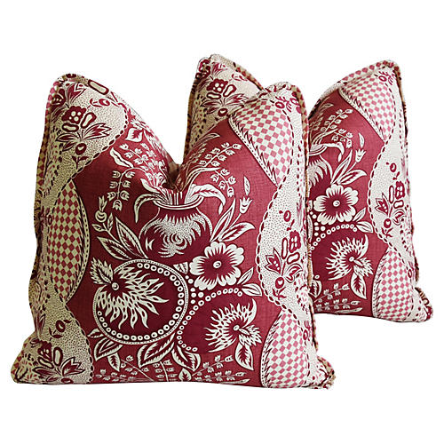 Clarence House Fabric Pillows, Pair