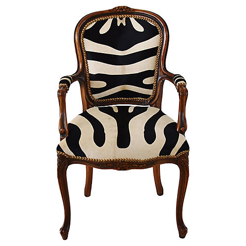 Carved Wood U0026 Zebra Cowhide Armchair
