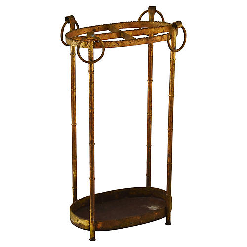 1950s Gold Gilt Umbrella Stand
