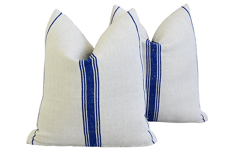 French Homespun Grain Sack Pillows, Pr