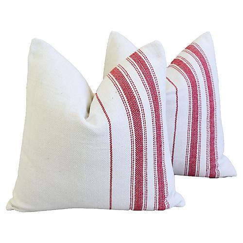 French Red Stripe Grain Sack Pillows, Pr