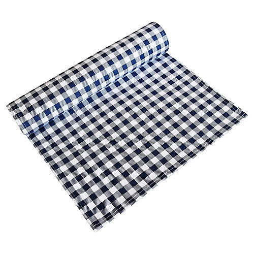 Navy Blue & White Gingham Table Runner