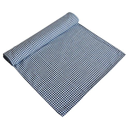 Dark Blue & White Gingham Table Runner