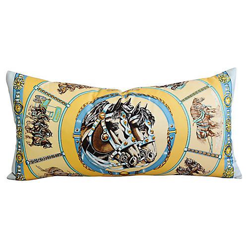 Hermès Equestrian Horses Silk Pillow