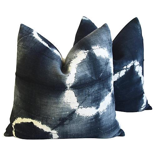 Abstract Tribal Mud Cloth Pillows, Pair