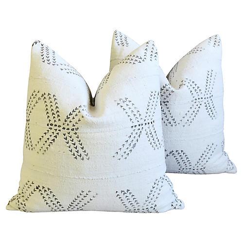 Neutral & Gray Mud Cloth Pillows, Pair