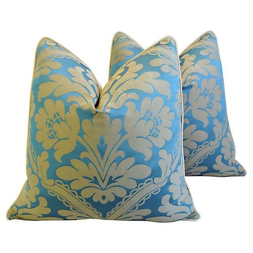 Scalamandré Silk & Velvet Pillows, Pair