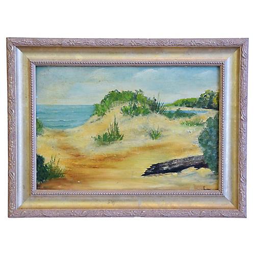 1950s Ocean, Beach & Sand Dunes Painting