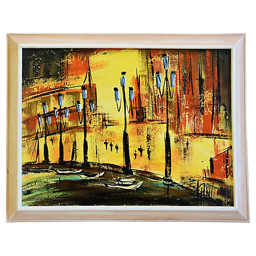 Midcentury Europe Cityscape Oil Painting