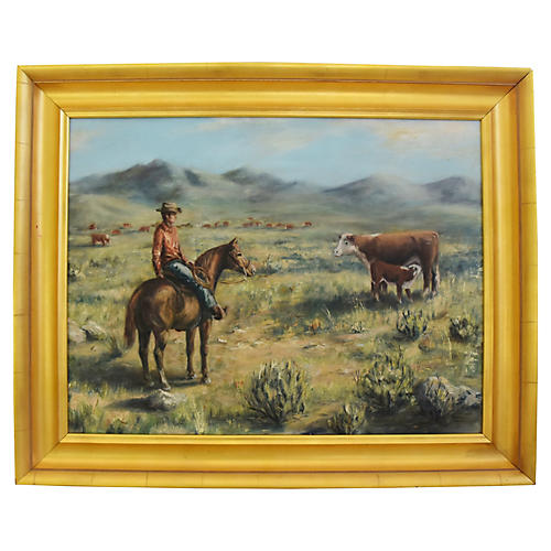 Sandy Pearce, Cowboy & Cattle Painting
