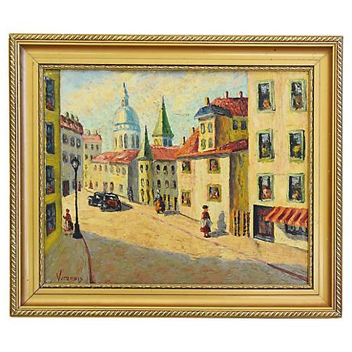 1950s Mediterranean Cityscape Painting